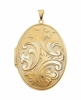 Oval Embossed Floral Gold Vermeil Memorial Locket Jewelry Necklace