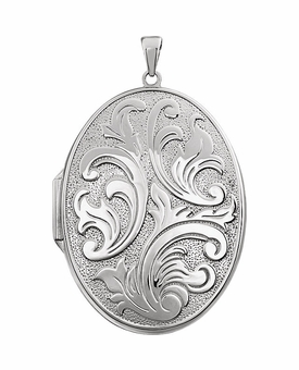 Oval Embossed Floral Sterling Silver Memorial Locket Jewelry Necklace