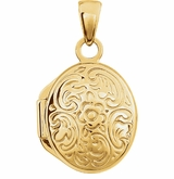 Oval Floral Design 14k Yellow Gold Memorial Locket Jewelry Necklace