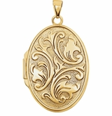 Oval Floral Embossed 14k Yellow Gold Memorial Locket Jewelry Necklace