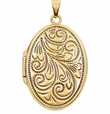 Oval Floral Spray Gold Vermeil Memorial Locket Jewelry Necklace