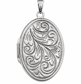 Oval Floral Spray Sterling Silver Memorial Locket Jewelry Necklace