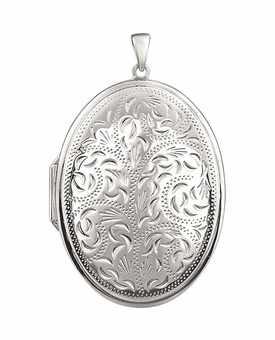 Oval Floral Sterling Silver Memorial Locket Jewelry Necklace