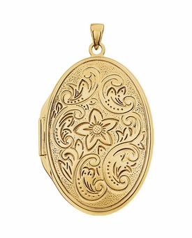 Oval Flower 14k Yellow Gold Memorial Locket Jewelry Necklace