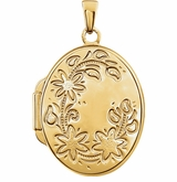 Oval Flower Border Gold Vermeil Memorial Locket Jewelry Necklace