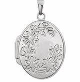 Oval Flower Border Sterling Silver Memorial Locket Jewelry Necklace