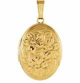 Oval Flowers 14k Yellow Gold Memorial Locket Jewelry Necklace