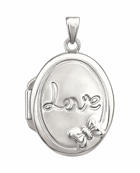 Oval Love Sterling Silver Memorial Locket Jewelry Necklace