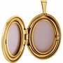 Oval Modern Design Cross Gold Vermeil Memorial Locket Jewelry Necklace