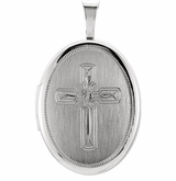 Oval Modern Design Cross Sterling Silver Memorial Locket Jewelry Necklace