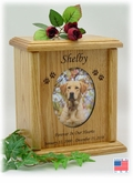 Oval Photo Insert And Paw Prints Engraved Wood Pet Cremation Urn