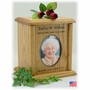 Oval Photo Insert Engraved Wood Cremation Urn