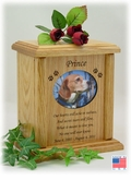 Oval Photo Insert With Poem And Paw Prints Engraved Wood Pet Cremation Urn
