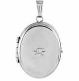 Oval with Diamond Sterling Silver Memorial Locket Jewelry Necklace