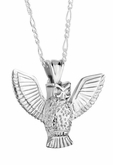 Owl Sterling Silver Cremation Jewelry Pendant Necklace