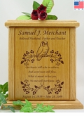 Owl Vine With Poem Engraved Wood Cremation Urn