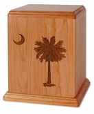 Palmetto Tree Natural Cherry Wood Newport Laser Carved Cremation Urn