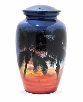 Palms At Sunset Picture Cremation Urn
