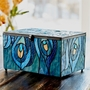 Paragon Peacock Large Stained Glass Memory Chest