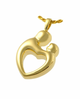 Parental Love Two Chamber Heart Cremation Jewelry-Gold