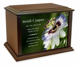 Passion Flower Eternal Reflections Wood Cremation Urn - 4 Sizes
