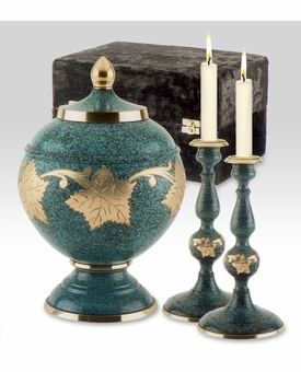 Patina Leaf Memorial Set with Brass Cremation Urn and Candlesticks