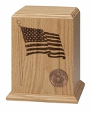 Patriot Military Oak Wood Cremation Urn