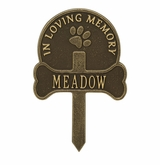 Personalized Paw and Bone Lawn and Garden Pet Memorial Marker - 9 Colors