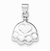 Paw Print and Heart Sterling Silver Cremation Jewelry Pendant