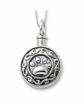 Paw Print Antiqued Sterling Silver Cremation Jewelry Necklace