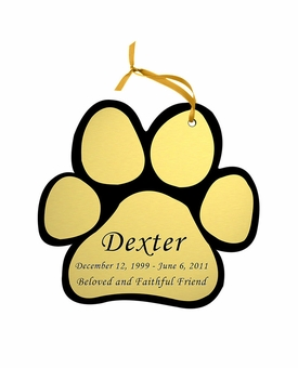 Paw Print Double-Sided Memorial Ornament - Engraved - Gold