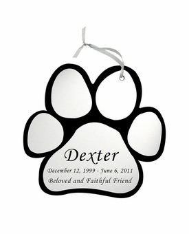 Paw Print Double-Sided Memorial Ornament - Engraved - Silver