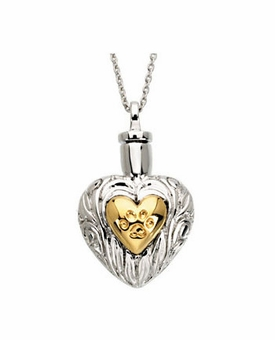 Paw Print Gold Heart in Heart Sterling Silver Cremation Jewelry Necklace