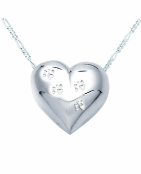 Paw Print Heart Sterling Silver Pet Cremation Jewelry Pendant Necklace