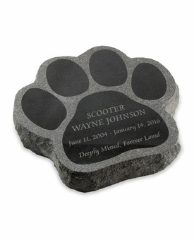 Paw Print Laser-Engraved Pet Marker Black Granite Memorial