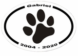 Paw Print Memorial Sticker