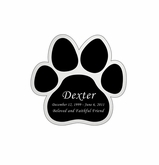 Paw Print Nameplate - Engraved Black and Silver - 1-7/8  x  1-7/8