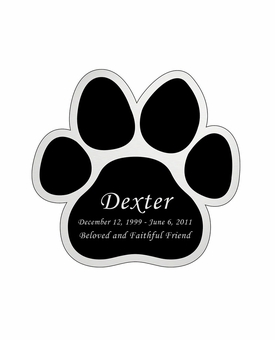 Paw Print Nameplate - Engraved Black and Silver - 2-3/4  x  2-3/4