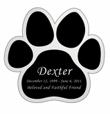 Paw Print Nameplate - Engraved Black and Silver - 3-1/2  x  3-1/2