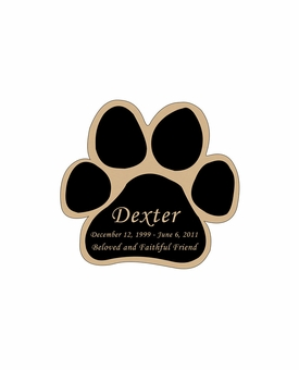 Paw Print Nameplate - Engraved Black and Tan - 1-7/8  x  1-7/8