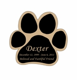 Paw Print Nameplate - Engraved Black and Tan - 2-3/4  x  2-3/4