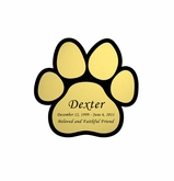 Paw Print Nameplate - Engraved - Gold - 1-7/8  x  1-7/8