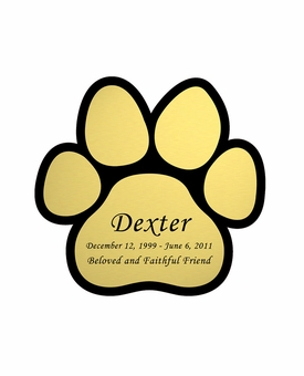 Paw Print Nameplate - Engraved - Gold - 2-3/4  x  2-3/4