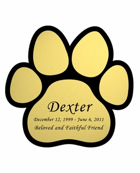 Paw Print Nameplate - Engraved - Gold - 3-1/2  x  3-1/2