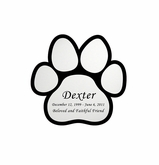 Paw Print Nameplate - Engraved - Silver - 1-7/8  x  1-7/8