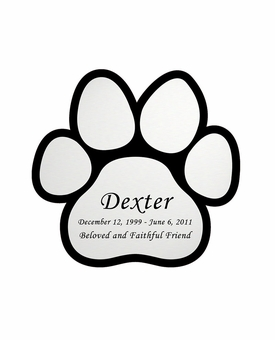 Paw Print Nameplate - Engraved - Silver - 2-3/4  x  2-3/4