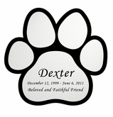 Paw Print Nameplate - Engraved - Silver - 3-1/2  x  3-1/2