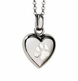 Paw Print Puff Heart Black Rhodium Finish over Sterling Silver Cremation Necklace Pendant