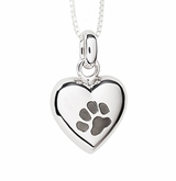 Paw Print Puff Heart Polished Sterling Silver Cremation Necklace Pendant