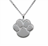 Paw Print Sterling Silver Cremation Jewelry Necklace